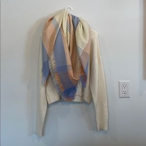 Large Blanket Scarf with Colourful Detail